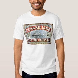 Vintage Cunard Line Sailing New York to Liverpool Tee Shirts