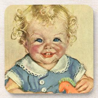 Vintage Cute Blonde Scandinavian Baby Boy or Girl Coaster