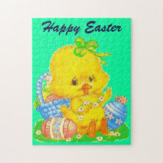 Vintage Cute Easter Duckling and Easter Egg Jigsaw Puzzle