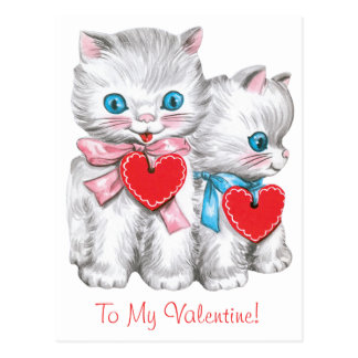 Vintage Cute Valentine's Day, Retro Kitten Cats Postcard