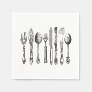 Vintage Cutlery Black White Fork Spoon Knife 1800s Disposable Serviette
