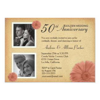 Vintage Daisy Anniversary Party Photo Invitations