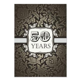 vintage damask 50th birthday party invitations