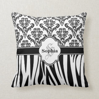 Vintage Damask Cool Zebra Stripes Cushion