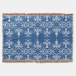 vintage damask floral blue white throw blanket