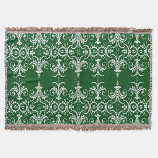 vintage damask floral green white throw blanket