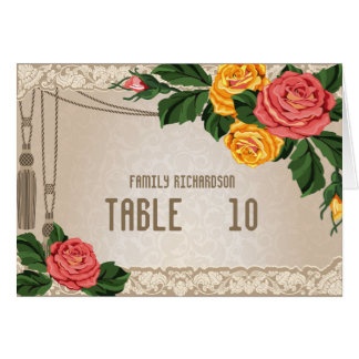 Vintage Damask Floral Wedding Table Numbers Stationery Note Card