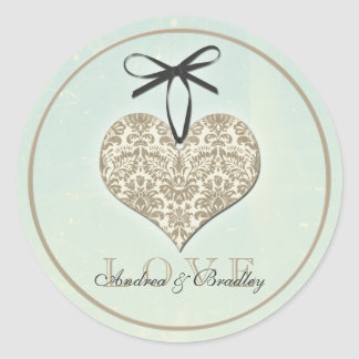 Vintage Damask Heart Mint Personalized Wedding Classic Round Sticker