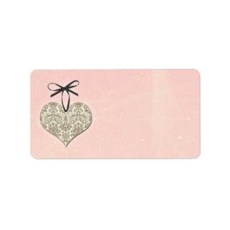 Vintage Damask Heart Pink Wedding Blank Address Label