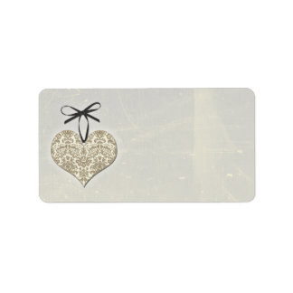 Vintage Damask Heart Silver Wedding Blank Address Label