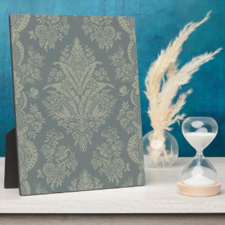 Vintage Damask in Antique Green Plaque