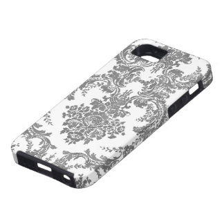 Vintage Damask Pattern - Gray and White iPhone 5 Cover