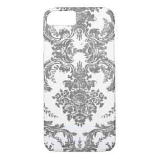 Vintage Damask Pattern - Gray and White iPhone 8/7 Case