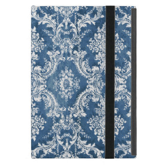Vintage Damask Pattern - Sapphire Blue White iPad Mini Case