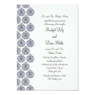 Vintage Damask Wedding Invitation (blue)
