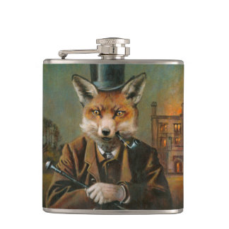 Vintage Dapper Fox Hip Flask