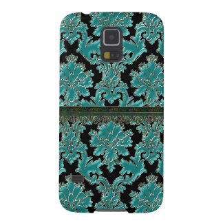 Vintage Dark Teal Damask Galaxy S5 Covers