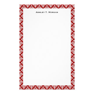 Vintage Deep Red White Damask #3 Personalized Stationery