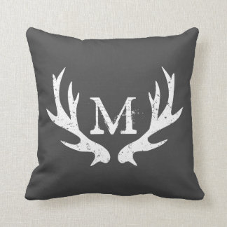 Vintage deer antler throw pillow | Grey and white