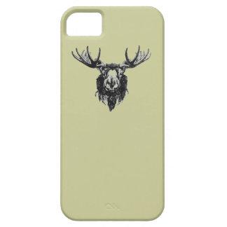 Vintage deer buck stag head antler line drawing  iPhone 5 case