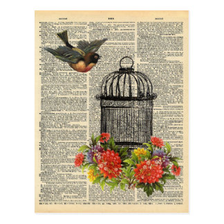 Vintage Dictionary Art Bird and Cage with Flowers Postcard