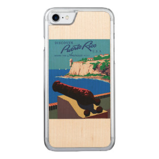 Vintage Discover Puerto Rico U.S.A. WPA Poster Carved iPhone 8/7 Case