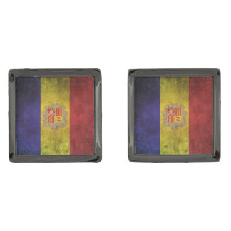 Vintage Distressed Flag of Andorra Gunmetal Finish Cufflinks