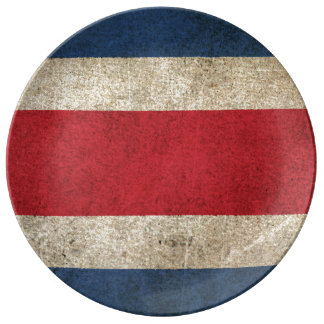 Vintage Distressed Flag of Costa Rica Plate