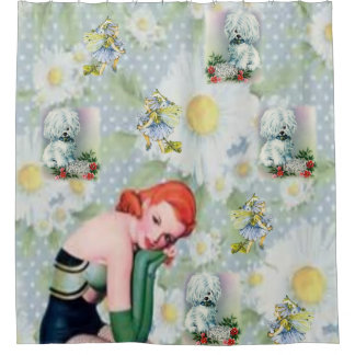 vintage dog lady flowers showercurtain shower curtain