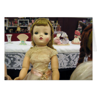 Vintage Doll in Beige Lace Greeting Card - Blank