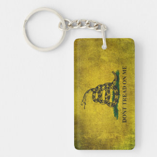 Vintage Don't Tread on Me Gadsden Flag Double-Sided Rectangular Acrylic Key Ring