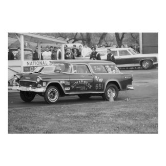 Vintage Drag Racing - 1955 Chevy BelAir Nomadness Poster