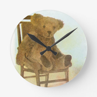 Vintage DRawing: Teddy Bear on a Chair Round Wall Clocks