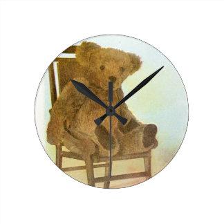 Vintage DRawing: Teddy Bear on a Chair Wallclocks