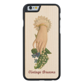 """ Vintage Dreams"" - Lady Lily Carved Maple iPhone 6 Case"