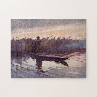 Vintage Duck Hunter Sportsman Boat Jigsaw Puzzle