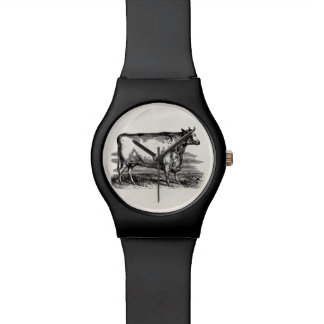 Vintage Durham Cow Bull Personalized Illustration Wrist Watch