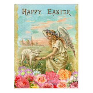 Vintage Easter. Angel and Lamb. Postcard