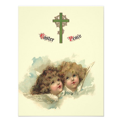 Vintage Easter, Angelic Angels Clouds Heaven Personalized Announcement