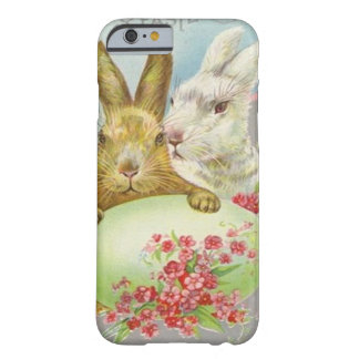 Vintage Easter Bunnies With Easter Egg Easter Card Barely There iPhone 6 Case