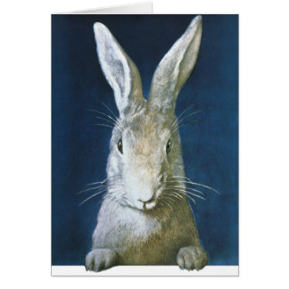 Vintage Easter Bunny, Cute Furry White Rabbit Note Card