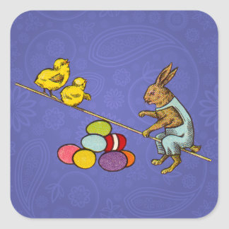 Vintage Easter Bunny with chicks and Easter eggs Square Sticker