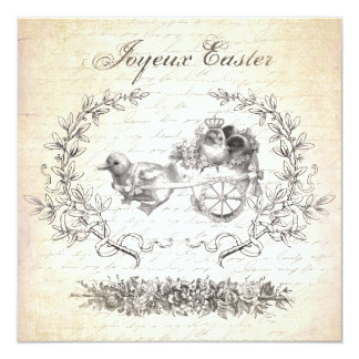 Vintage Easter chickens invitation