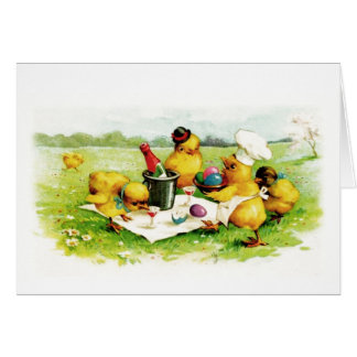 Vintage Easter Chicks . Customizable Greeting Card