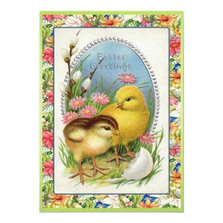 Vintage Easter Chicks Victorian Floral 13 Cm X 18 Cm Invitation Card