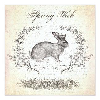 Vintage Easter rabbit invitation