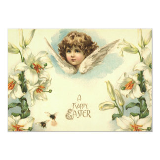 Vintage Easter, Victorian Angel with Lily Flowers Card