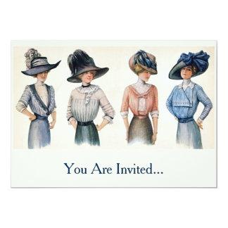 "Vintage Edwardian Fashion from 1910 5"" X 7"" Invitation Card"