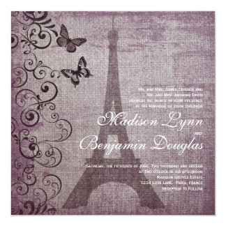 "Vintage Eiffel Tower Butterfly Wedding Invitations 5.25"" Square Invitation Card"