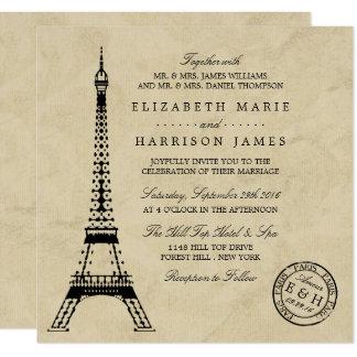Vintage Eiffel Tower Paris Postmark Wedding 13 Cm X 13 Cm Square Invitation Card